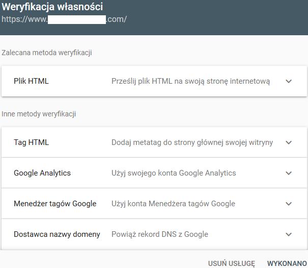 Opcje weryfikacji strony w Google Search Console